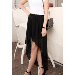 Sammydress #Thanksgiving Wish List $6.68 Chic Solid Color Irregular Hem Chiffon Skirt For Women