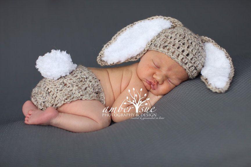 READY Baby Hat  Bunny Rabbit Ears  Photo Prop baby bunny oufit Easter bunny set crochet newborn Easter bunny set #crochetbunnypattern