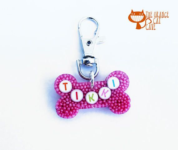 Handcast candy resin bone shaped charm with either a name