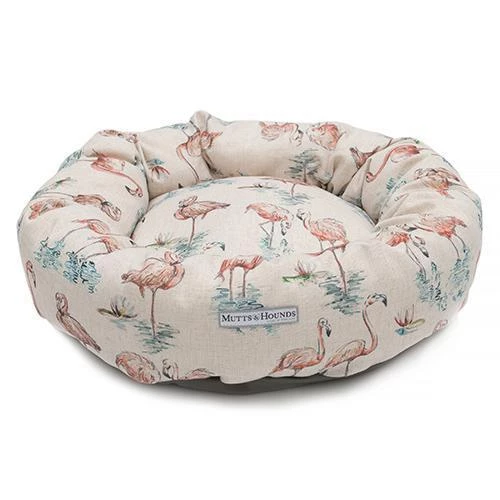 Flamingo Linen Donut Dog Bed Dog bed, Dog cushions