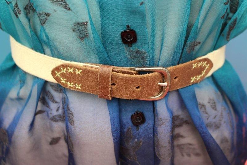 ceinture jaune cuir extensible TU vintage retro hippie chic année 60-70