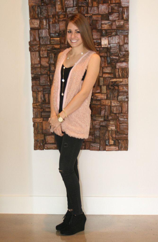 feeling pink fuzzy vest
