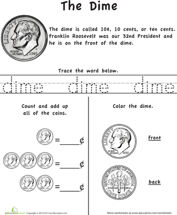 learn the coins the dime kindergarten kindergarten math worksheets kindergarten math. Black Bedroom Furniture Sets. Home Design Ideas