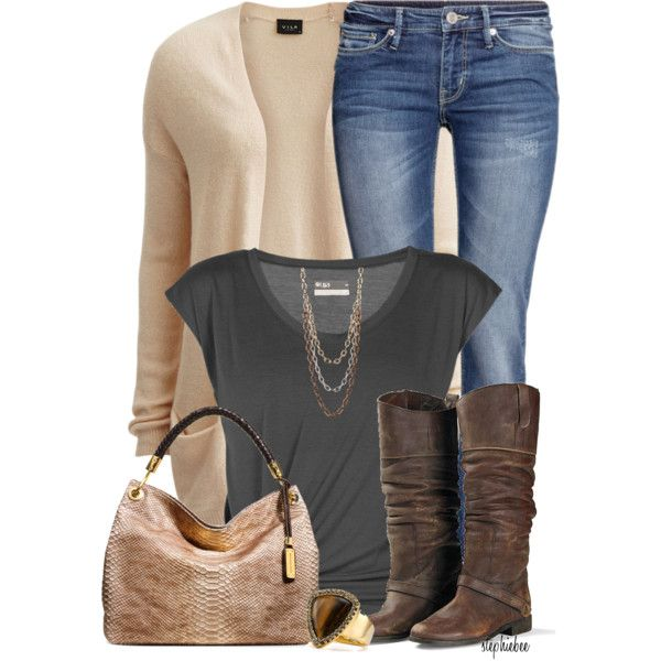 """""""Open Front Cardigan"""" by stephiebees on Polyvore"""