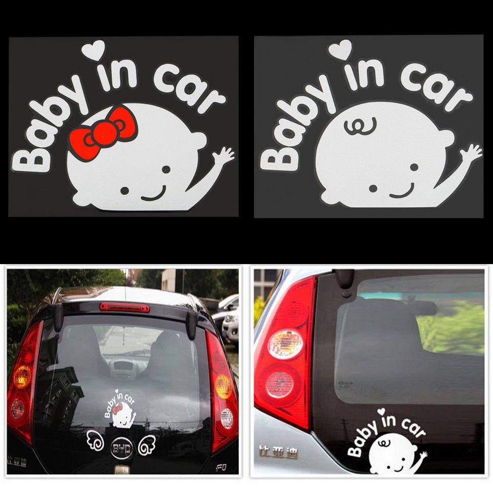1x Cartoon Baby On Board Little Girl Car Sticker Reflective PET Decal Decor