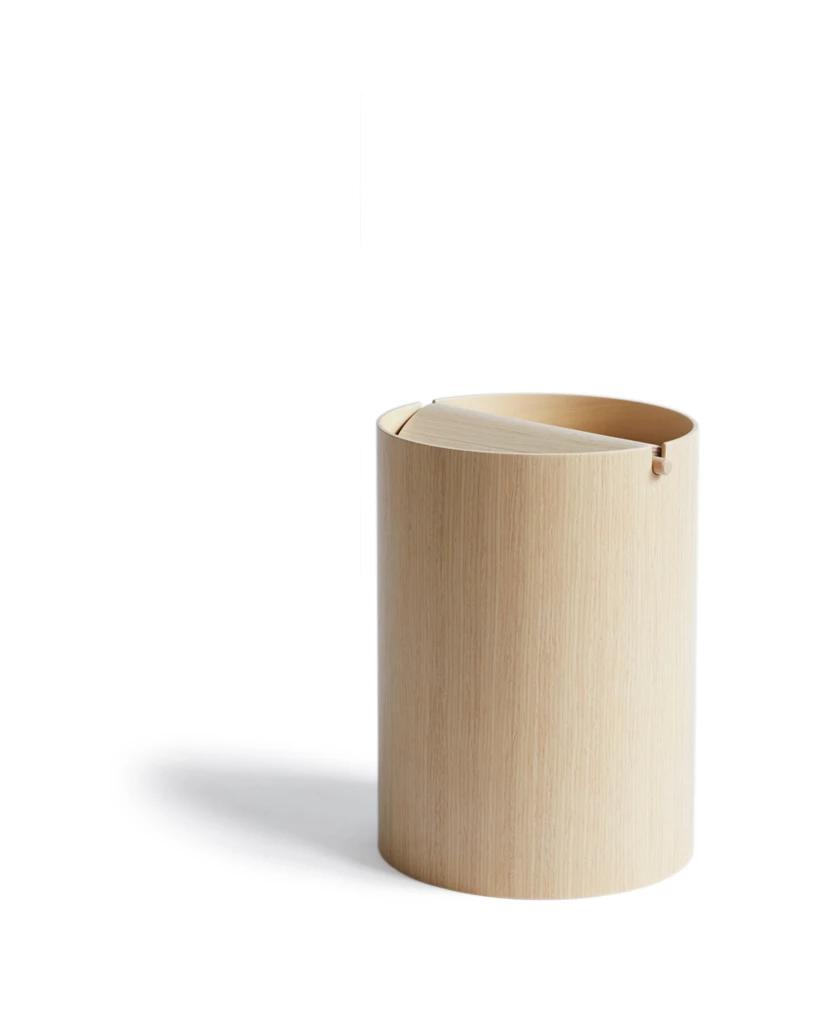 White Oak Paper Waste Basket With Lid Small Waste Basket