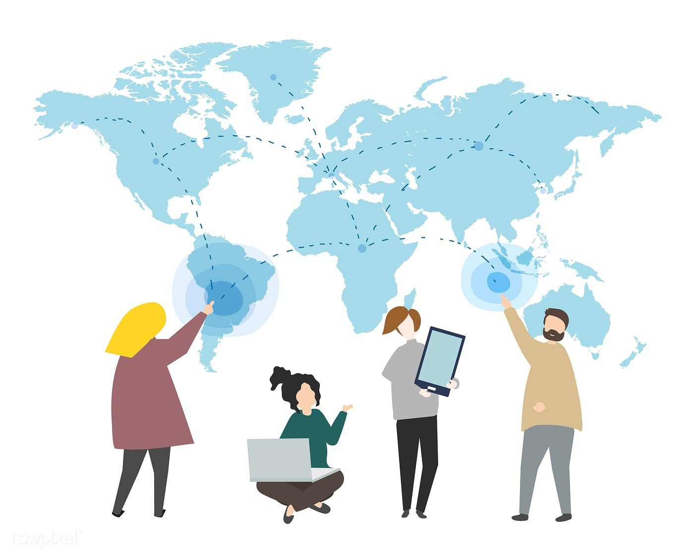 Online data and global connection illustration   free image by rawpixel.com  / busbus   Illustration, Vector free, Character illustration