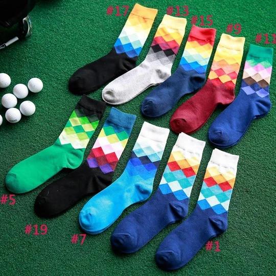 2017 Fashion Men Socks Plaid Rhombus Printing Autumn Winter Casual Long Cotton Gradient Color Socks H9