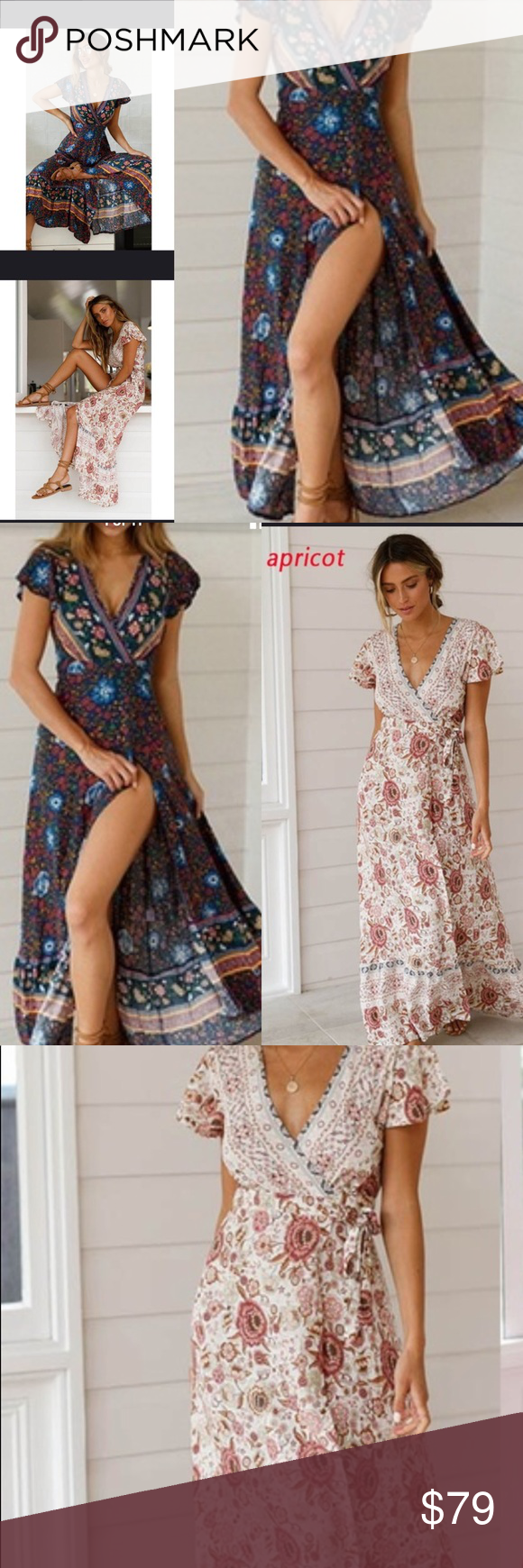 ae208aff12 Bohemian Maxi Floral Wrap Dress This flowy wrap-around dress is perfect for  festivals
