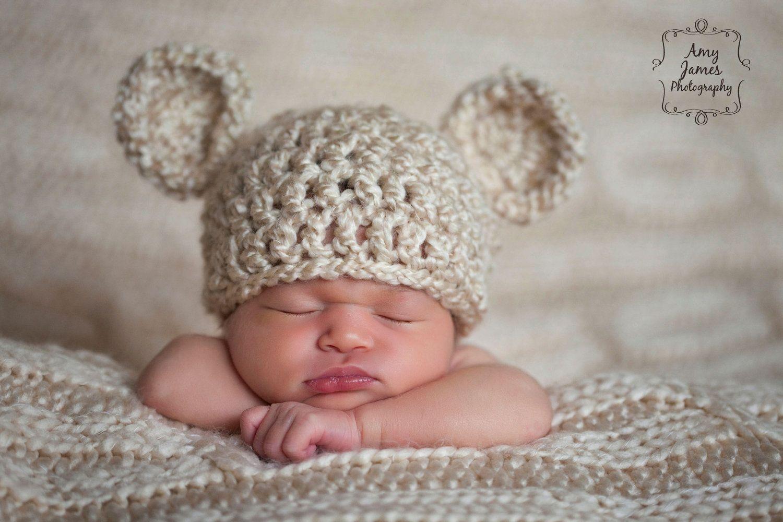 c879e25552b Bear Hat Newborn Baby Ready to Ship Chunky Cream Crochet Knit Beanie  Photography Prop Ivory Off White Infant Girls Boys Twins Unisex Neutral