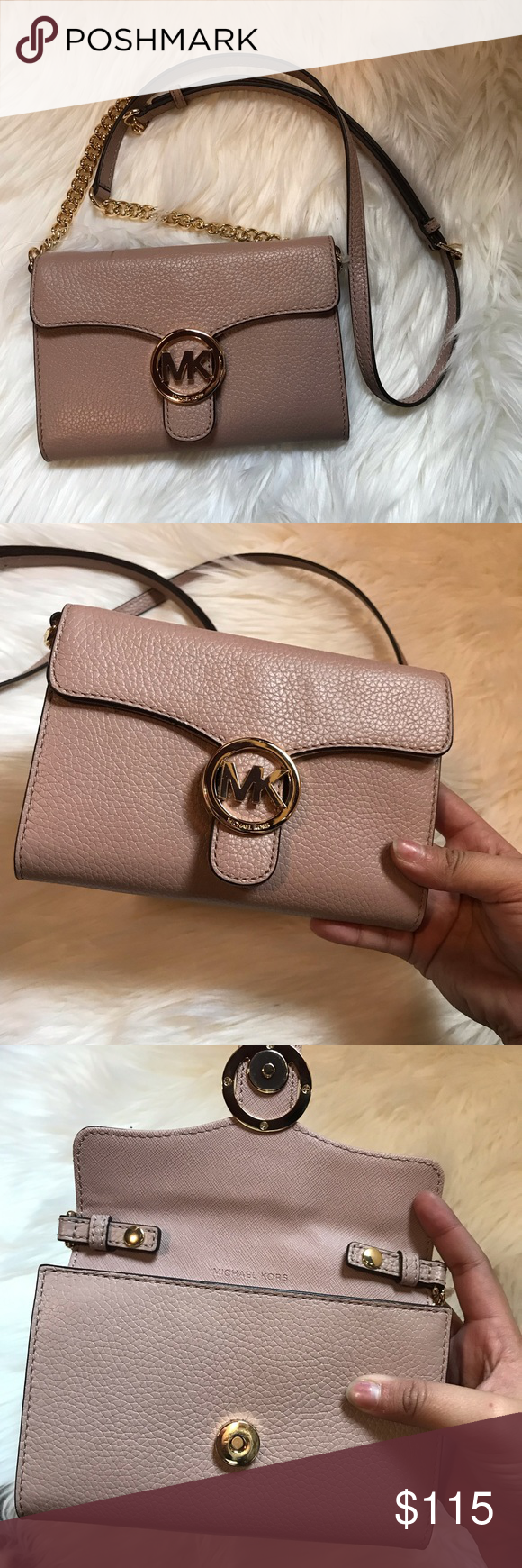 e1f1db4c1b88 Michael Kors Vanna Large Leather Phone Crossbody New With No tags. No dust  bag.