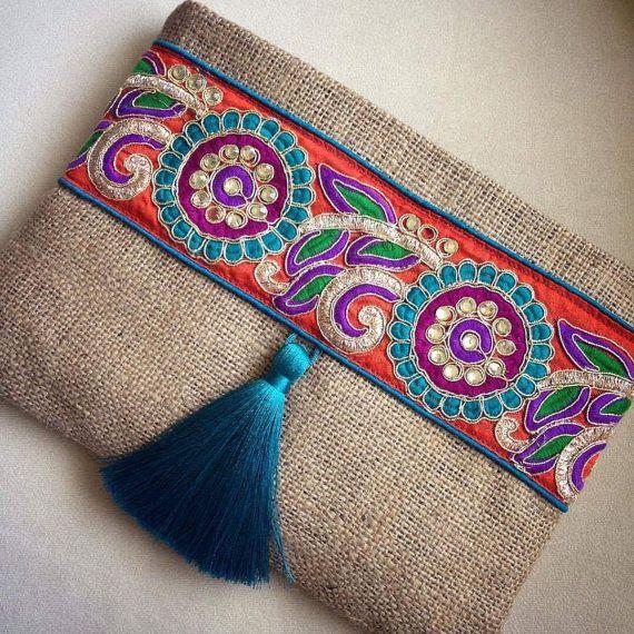3e933b36d Bohemio embrague, embrague étnicos, bolso boho, embrague monedero, bolso de  las mujeres, regalo hecho a mano, se encuentra el verano,