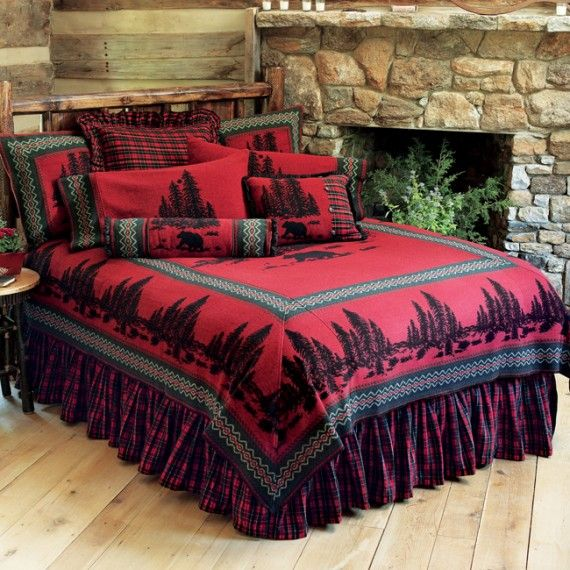 Rustic Masculine Bedroom Ideas: Rustic Bedding Set In Red And Black For Masculine Bedroom