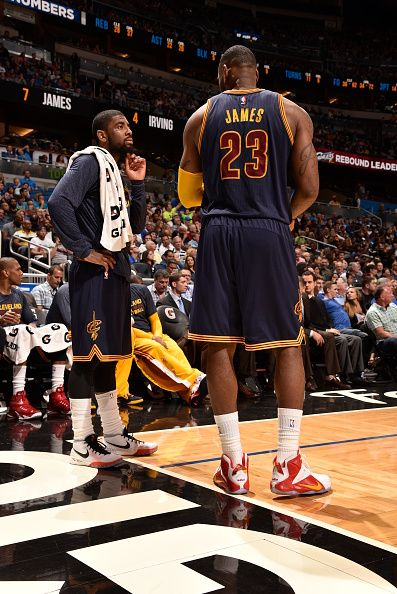 1ef1e0b9098f Cavs stars LeBron James and Kyrie Irving in their PE Signature shoes at  tonight s game.  Kyrie1  LebronXII