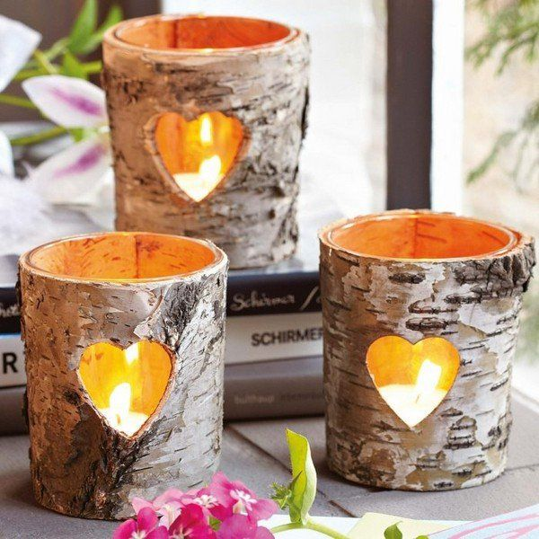 45 Creative Christmas Crafts Ideas Decorating With Natural Materials Fall Candle Decor Diy Candle Holders Birch Bark Crafts