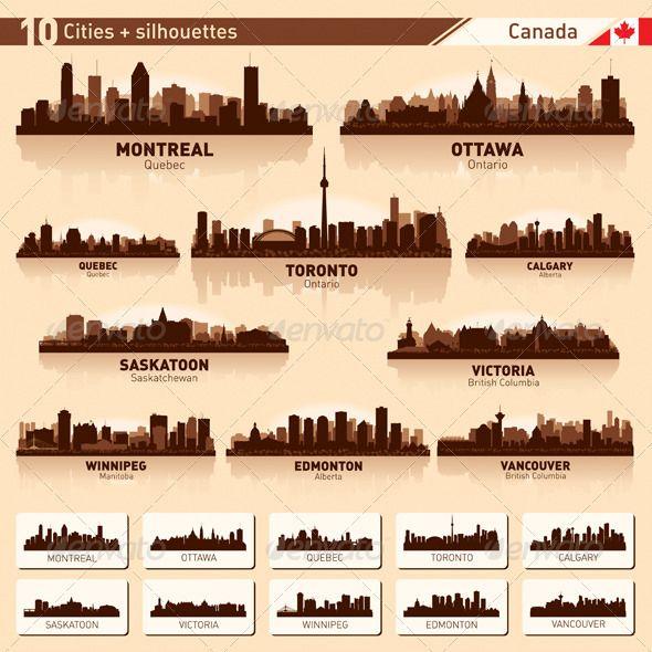 City Skyline Set - Canada Vector Silhouettes - Buildings