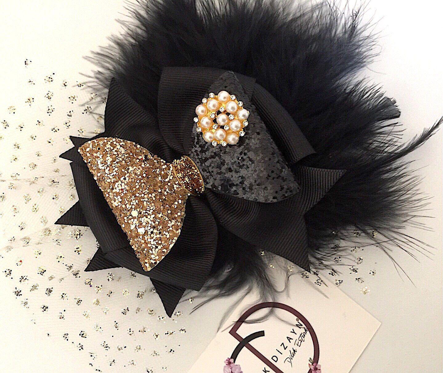 Baby Girl Gift Hair Accessories Newborn Headband Black Hair Bow Baby Headband Black Glitter Bow Baby Bows Baby Hair Clip Hair Bows