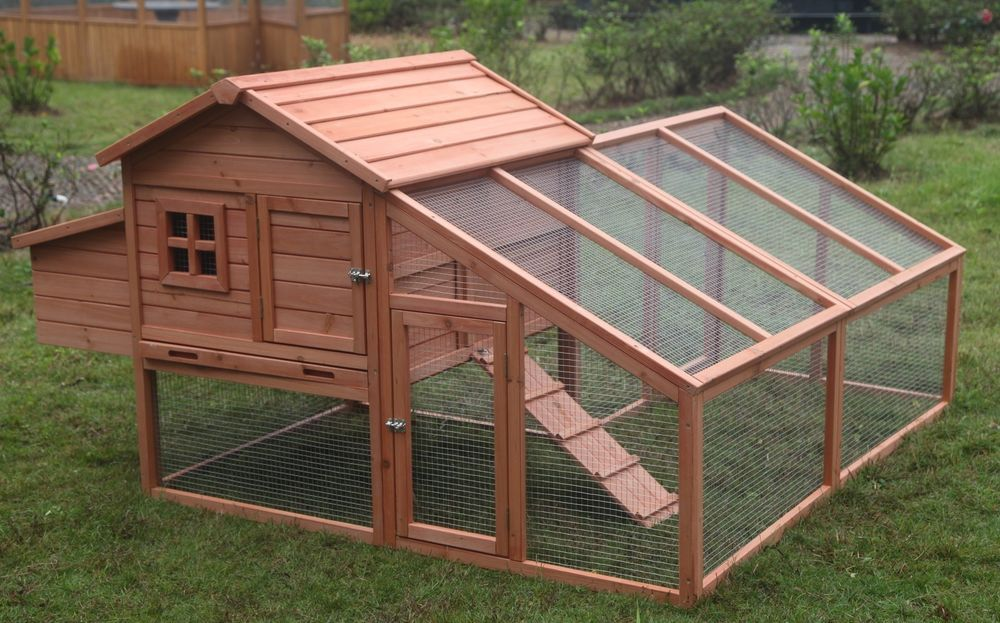 Large Wood Chicken Coop Backyard Hen House 3 6 Chickens With Nesting Box Run Chickenhouse Chickenco Backyard Poultry Chicken Coop Run Building A Chicken Coop