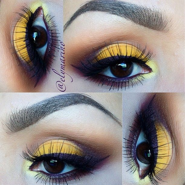 """All shadows are MAC Golden Rod & Deep Damson. """"Golden Rod"""" is on the lid, """"Saddle"""" in the crease, """"Deep Damson"""" in the outer corner and """"Samoa Silk"""" for blending.  used """"Bright Sunshine"""" (MAC) for a highlight in the inner corner and Dark Diversion in the water line  (MAC) ✨✨ - @elymarino"""