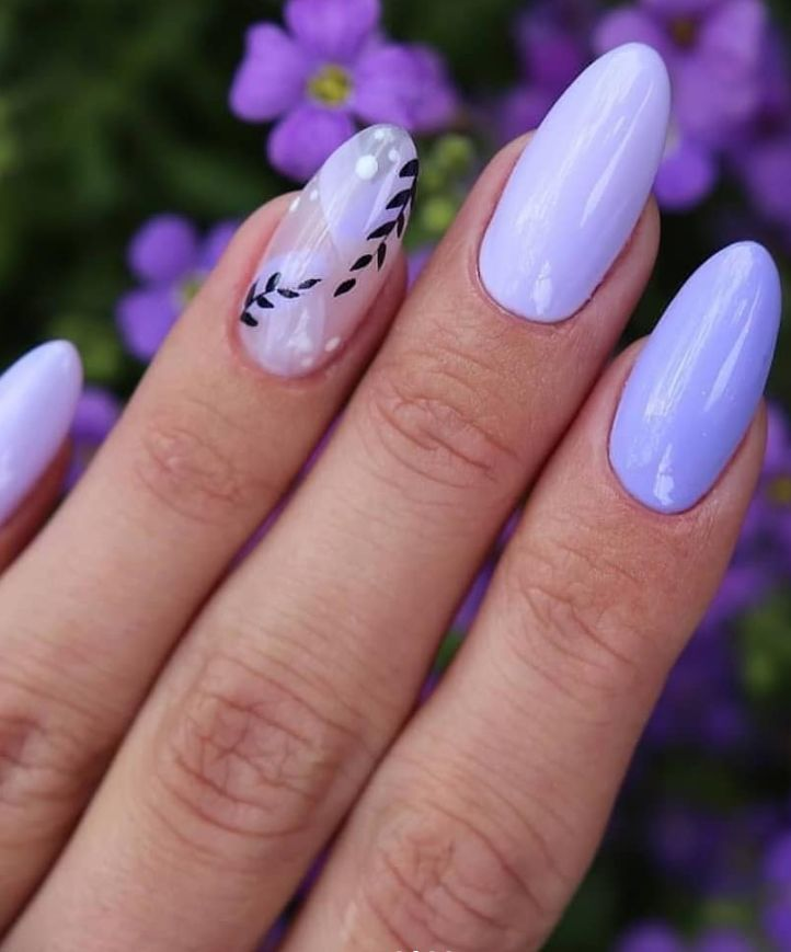 Pretty Purple Short Almond Nails Design Short Acrylic Almond Nails Design Almond Nails Spring Almond In 2020 Almond Nails Designs Purple Nails Makeup Nails Designs