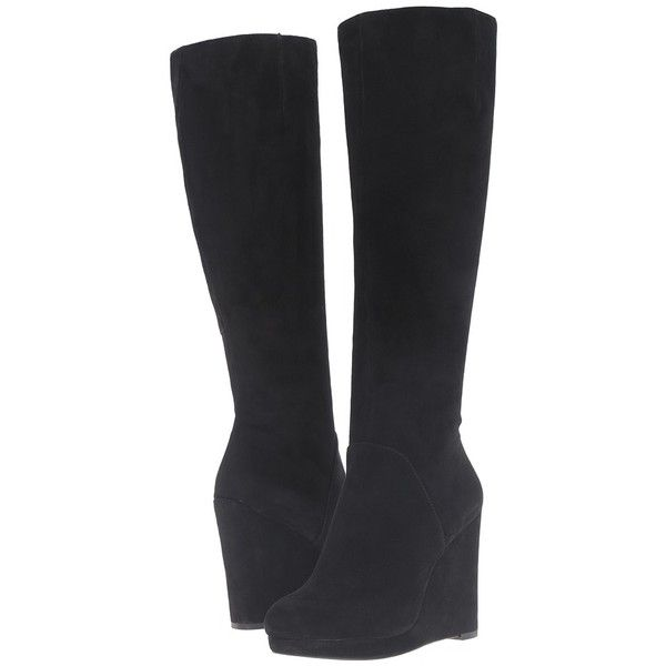 ac604eb8bb0b Nine West Harvee (Black Suede) Women s Boots ( 190) ❤ liked on Polyvore  featuring shoes