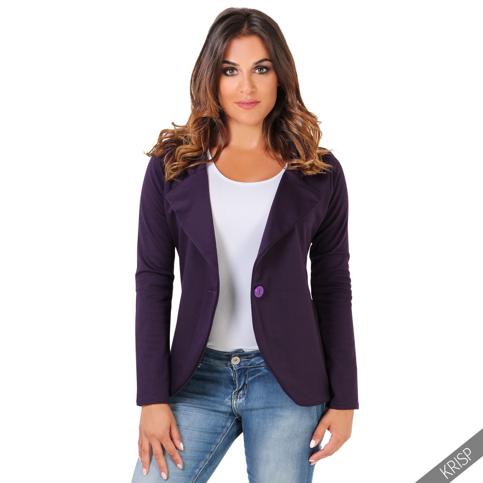 954c456970a5c Details about KRISP Womens Slim Fit Casual Smart Jersey Blazer ...