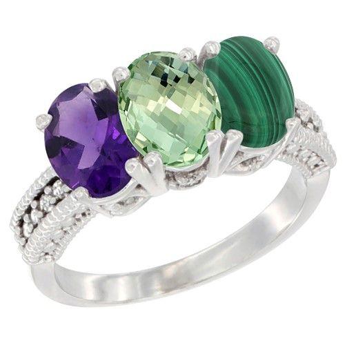 10K White Gold Natural Amethyst, Green Amethyst & Malachite Ring 3-Stone Oval 7x5 mm Diamond Accent, size 8.5, Women's