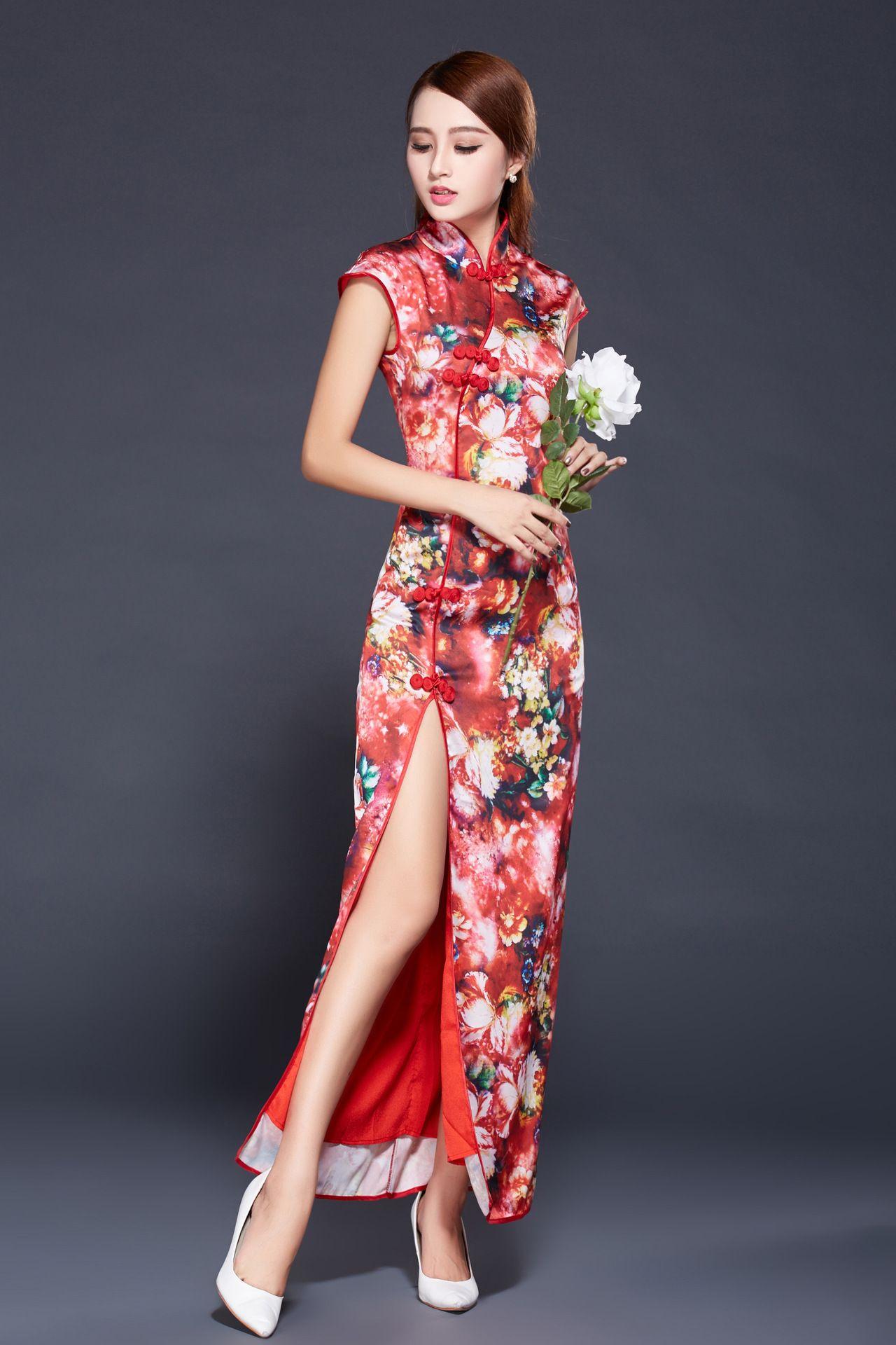 214f7d462e0e6 チャイナドレスロングスリット 韓流 タイトウエストチャイナ服 民族風 刺繍チャイナドレス --九六商圏 - 海外ファッション激安通販サイト