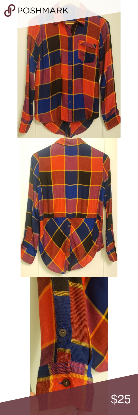9c2c192c Lucky Brand Bungalow Flannel Button Down Gorgeous & soft womens size XS  flannel. Has a buttoned split flap shirt tail in the back, which makes for  a ...