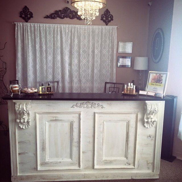 Distressed white antique repro counter /bar/reception desk/ | Etsy - Distressed White Antique Repro Counter /bar/reception Desk/ Hostess