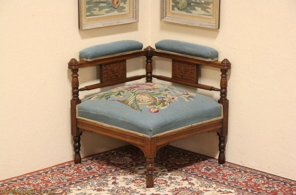 Eastlake Needlepoint 1880 Antique Corner Chair from harpgallery on Ruby Lane - A Wonderful Example Of Late Victorian Or Eastlake Design, This