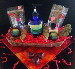 "Valentines Day Intimacy Basket Cannabis Infused: Lip Gloss Body Primer Chocolate Raw Hearts Clitoral Stimulation Oil Vaginal and Anal Lubrication  Our Mantra ""If you cant put it in you, Dont put it on you.""  All of our products Edible and raw organic vegan bio-active, antioxidant and protecting.  Cannabis, It does a body Good!!"
