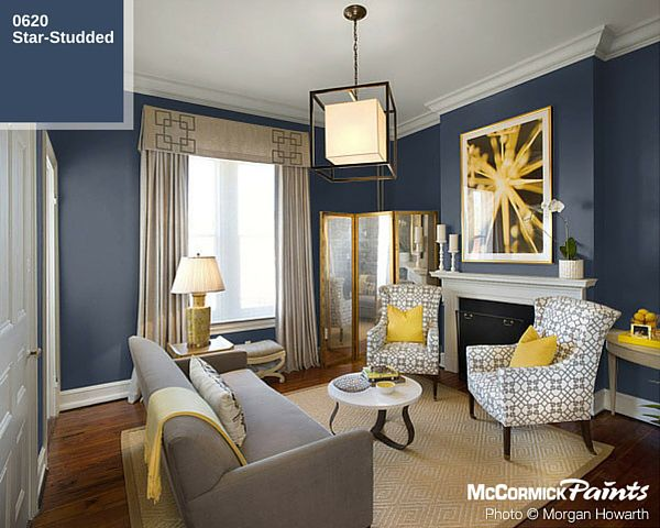 Yellow Accents Pop Against This Star Studded Background Navyblue Blue