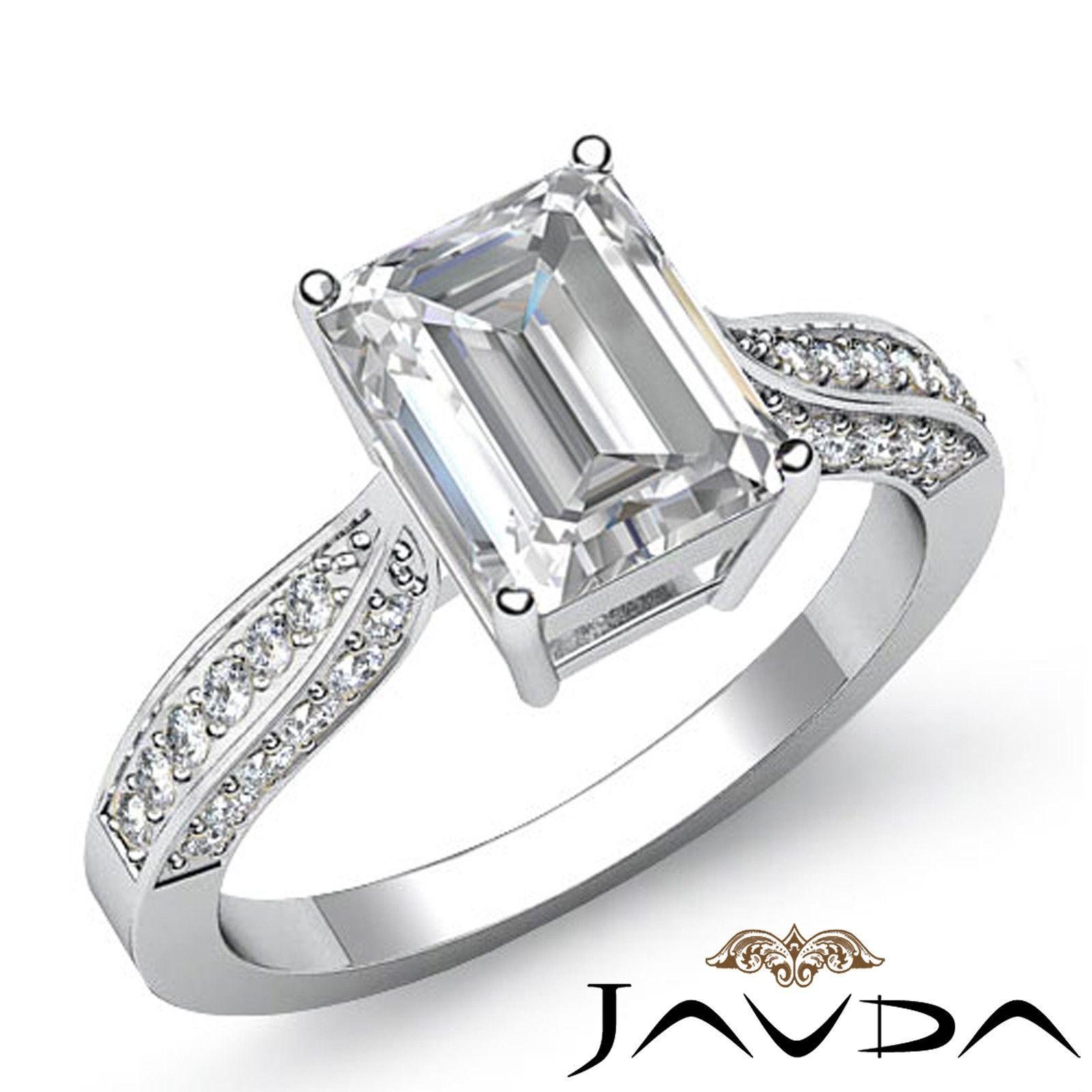 Emerald Diamond Engagement EGL E VS2 Cathedral Pave Set Ring Platinum 950 1 4 Ct | eBay