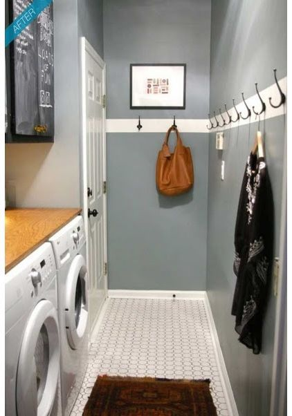 Line The Entire Laundry Wall With Hooks For Extra Storage This Is Good For Backpacks Coats Stylish Laundry Room Narrow Laundry Room Mudroom Laundry Room