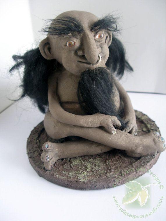 Yooper Troll  OOAK Paperclay Figurine by ajsarts on Etsy, $100.00