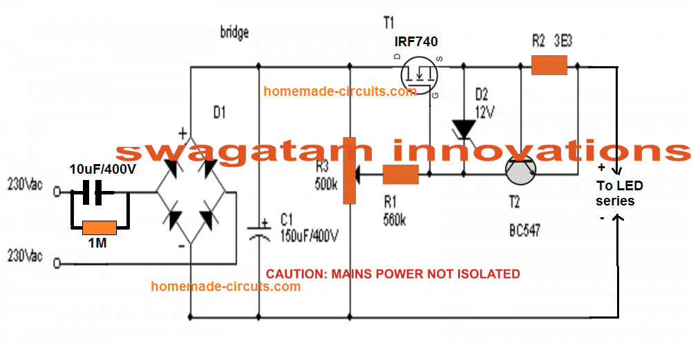 The Post Elaborately Explains How To Build A 3 Simple Led Bulb Using Many Leds In Series And P Power Supply Circuit Circuit Projects Electrical Circuit Diagram