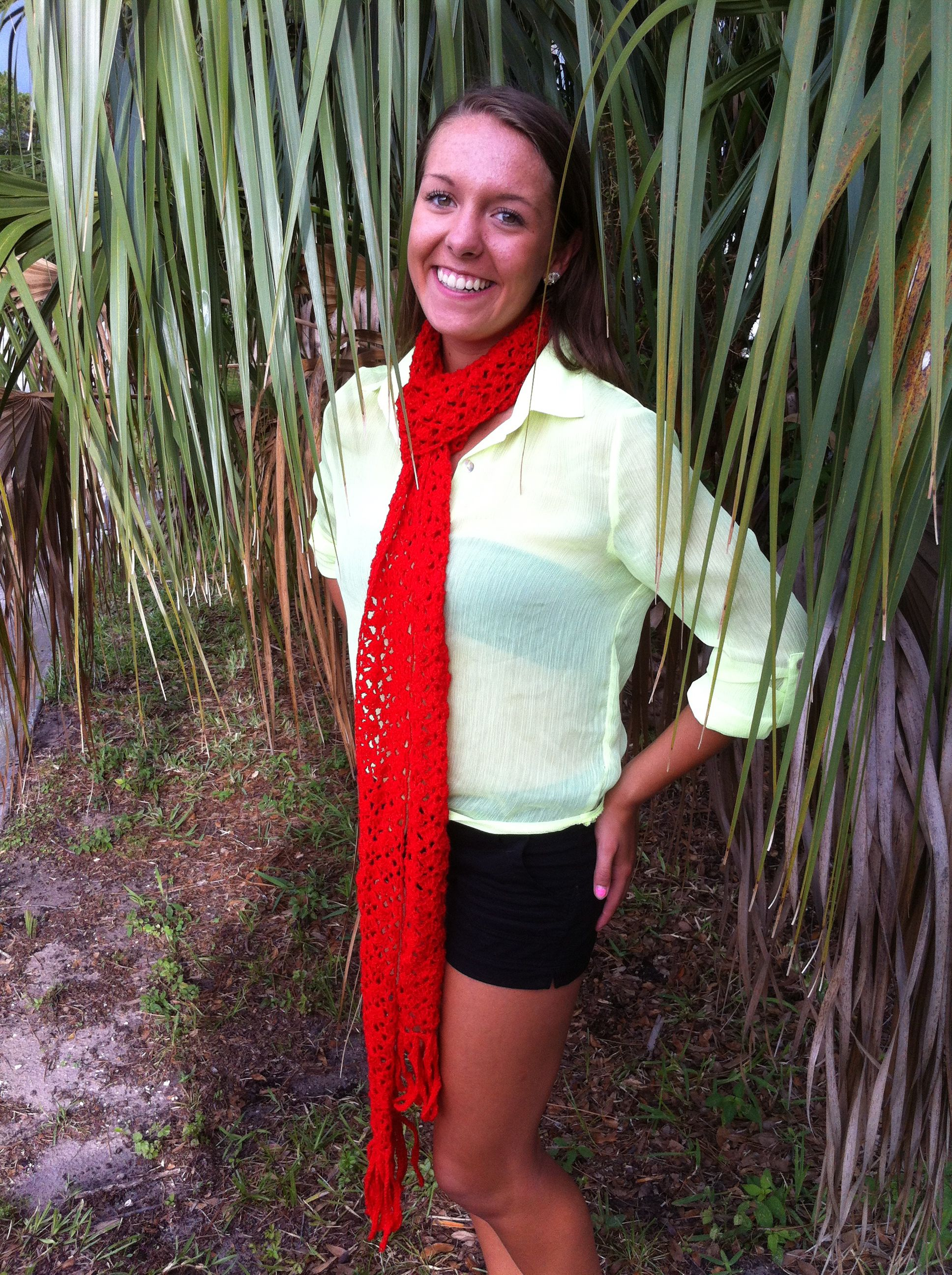 Sparkle Red Scarf with crocheted fringe