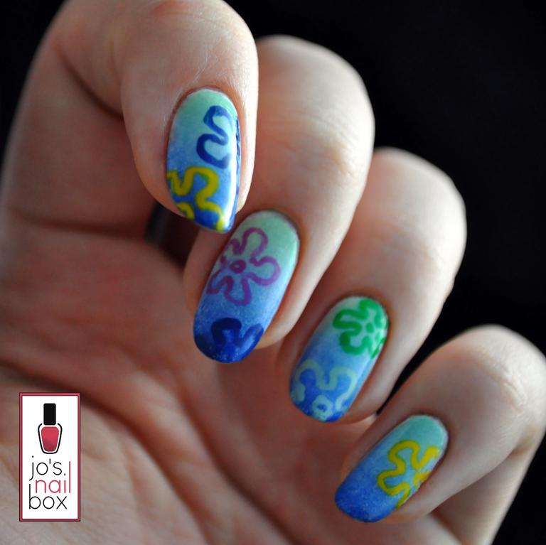 Spongebob Squarepants Inspired Nails By Josnailbox Disney Acrylic Nails Spongebob Nails Pretty Acrylic Nails