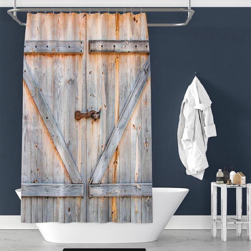 Photo of Wooden Door Pongee Shower Curtain Interior – TYChome bathroom ideas,bathroom d…