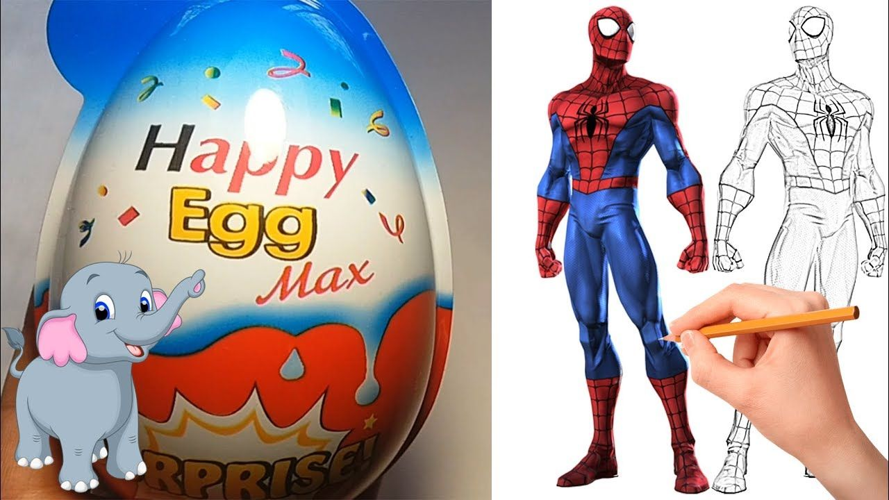 Spiderman Coloring Book And Opening Surprise Eggs Giant Kinder Joy Egg Spiderman Coloring Coloring Books Spiderman