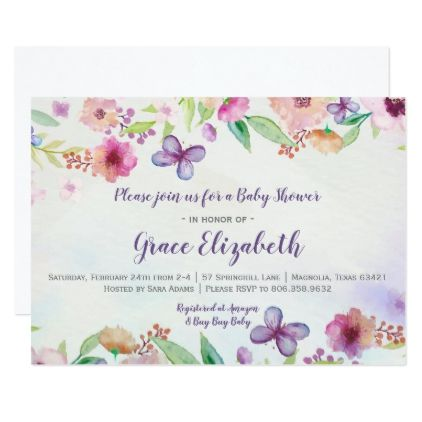 Butterfly floral watercolor baby shower invitation purple floral butterfly floral watercolor baby shower invitation purple floral style gifts flower flowers diy customize unique negle Gallery