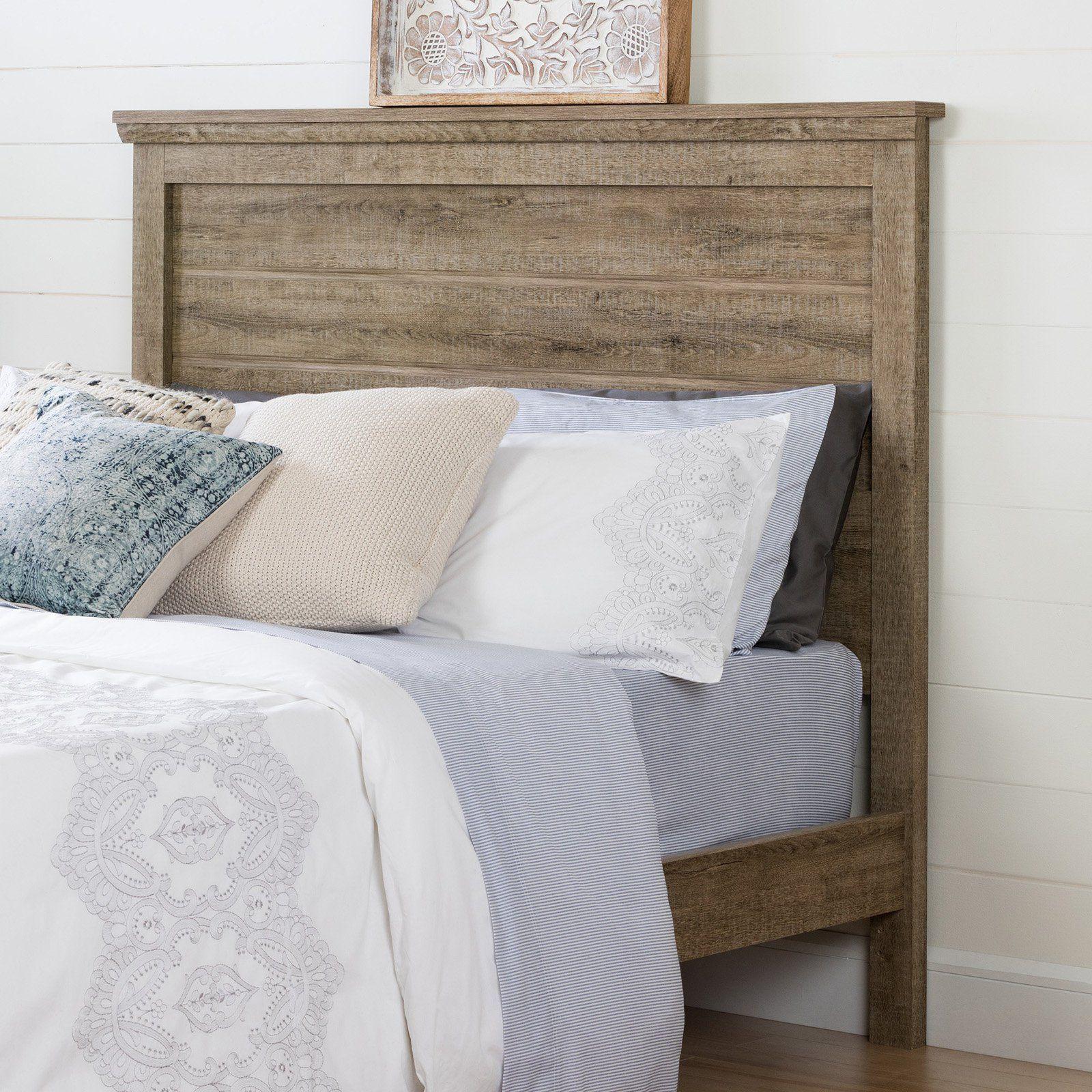 South Shore Lionel Queen Slat Headboard Rustic Master Bedroom
