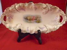RS Prussia Reflecting Water Lillies Celery Relish Dish, *SOLD*