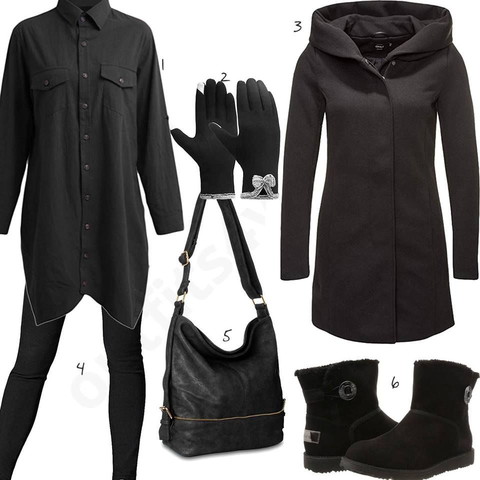 Damen Schwarzes Stiefeln Mantel mit Winteroutift und RL4jqA5c3