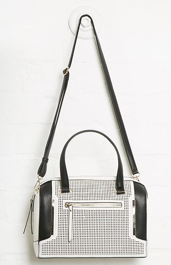 Issa Rae Perforated Vegan Leather Satchel in White | DAILYLOOK