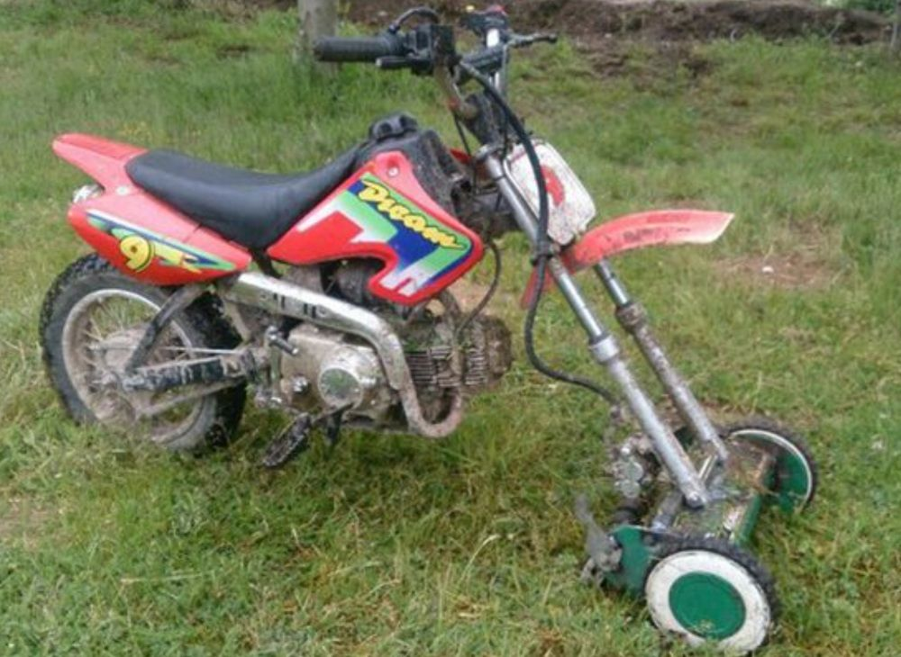 Strange And Funny Lawn Mowers Dirt Bike Gear Motorcross Bike