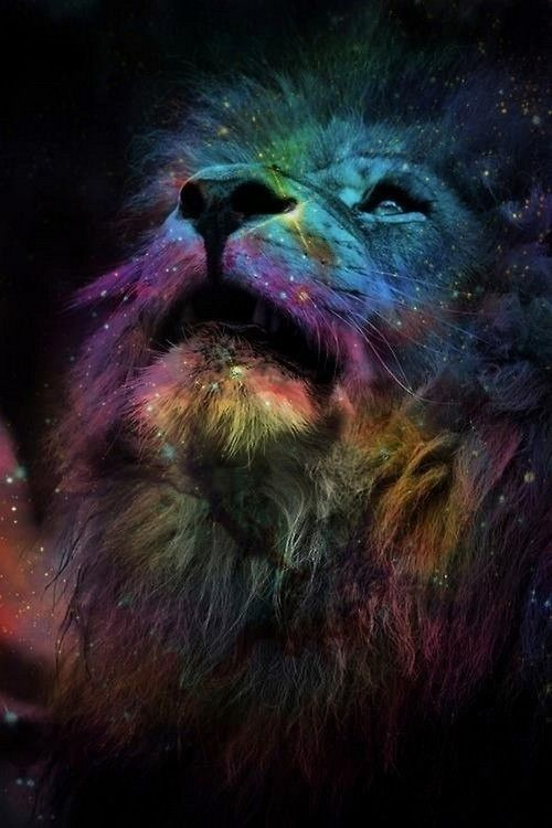 Canvas ombre several colors and trace lion over.