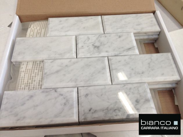 Italian Marble Cut Into 3x6 Tiles And Then Given A Wide Bevel To Create