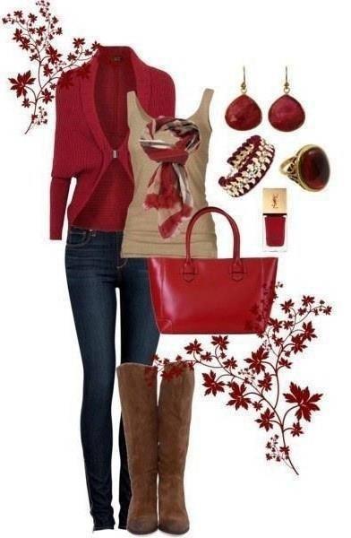 Rojo con pitillo azul camisera marron claro y un bolso de color rojo.